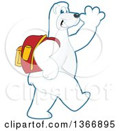Clipart Of A Polar Bear School Mascot Character Wearing A Backpack Walking And Waving Royalty Free Vector Illustration
