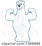 Clipart Of A Polar Bear School Mascot Character Flexing His Arm Muscles Royalty Free Vector Illustration by Toons4Biz