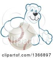 Clipart Of A Polar Bear School Mascot Character Grabbing A Baseball Royalty Free Vector Illustration
