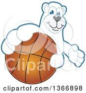 Clipart Of A Polar Bear School Mascot Character Grabbing A Basketball Royalty Free Vector Illustration