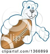 Clipart Of A Polar Bear School Mascot Character Grabbing An American Football Royalty Free Vector Illustration by Toons4Biz