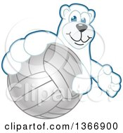 Clipart Of A Polar Bear School Mascot Character Grabbing A Volleyball Royalty Free Vector Illustration by Toons4Biz