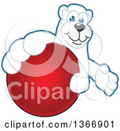Clipart Of A Polar Bear School Mascot Character Grabbing A Dodgeball Royalty Free Vector Illustration by Toons4Biz
