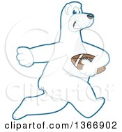 Clipart Of A Polar Bear School Mascot Character Running With An American Football Royalty Free Vector Illustration