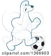 Clipart Of A Polar Bear School Mascot Character Playing Soccer Royalty Free Vector Illustration by Toons4Biz