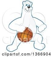Clipart Of A Polar Bear School Mascot Character Dribbling A Basketball Royalty Free Vector Illustration