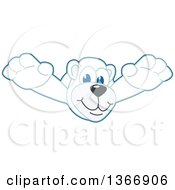 Clipart Of A Polar Bear School Mascot Character Leaping Royalty Free Vector Illustration