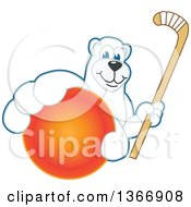 Polar Bear School Mascot Character Grabbing A Ball And Holding A Hockey Stick