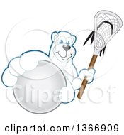 Polar Bear School Mascot Character Grabbing A Ball And Holding A Lacrosse Stick