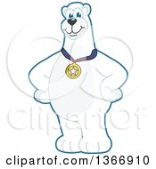 Clipart Of A Polar Bear School Mascot Character Wearing A Sports Medal Royalty Free Vector Illustration by Toons4Biz