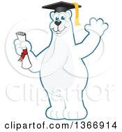 Clipart Of A Polar Bear School Mascot Character Graduate Holding A Diploma And Waving Royalty Free Vector Illustration by Toons4Biz