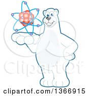 Clipart Of A Polar Bear School Mascot Character Holding An Atom Royalty Free Vector Illustration