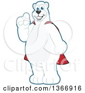 Polar Bear School Mascot Character Wearing A Super Hero Cape Holding Up A Finger