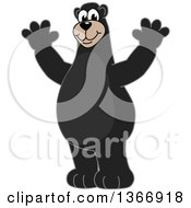 Clipart Of A Black Bear School Mascot Character Cheering Royalty Free Vector Illustration by Toons4Biz