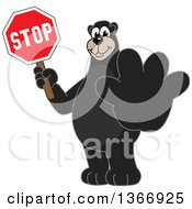 Clipart Of A Black Bear School Mascot Character Holding Out A Paw And A Stop Sign Royalty Free Vector Illustration