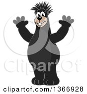 Clipart Of A Black Bear School Mascot Character With A Mohawk Cheering Royalty Free Vector Illustration by Toons4Biz