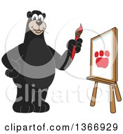 Clipart Of A Black Bear School Mascot Character Painting A Paw Print On Canvas Royalty Free Vector Illustration by Toons4Biz