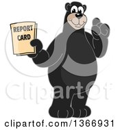 Clipart Of A Black Bear School Mascot Character Holding A Report Card Royalty Free Vector Illustration