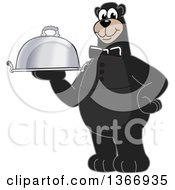 Clipart Of A Black Bear School Mascot Character Waiter Holding A Cloche Platter Royalty Free Vector Illustration by Toons4Biz