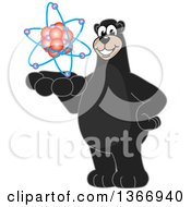 Clipart Of A Black Bear School Mascot Character Holding An Atom Royalty Free Vector Illustration by Toons4Biz