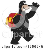 Clipart Of A Black Bear School Mascot Character Wearing A Backpack Walking And Waving Royalty Free Vector Illustration