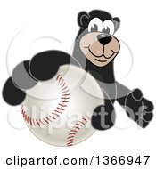 Poster, Art Print Of Black Bear School Mascot Character Grabbing A Baseball