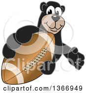 Clipart Of A Black Bear School Mascot Character Grabbing An American Football Royalty Free Vector Illustration by Toons4Biz