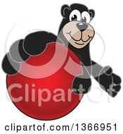 Clipart Of A Black Bear School Mascot Character Grabbing A Dodgeball Royalty Free Vector Illustration by Toons4Biz