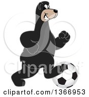 Clipart Of A Black Bear School Mascot Character Playing Soccer Royalty Free Vector Illustration by Toons4Biz