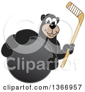 Clipart Of A Black Bear School Mascot Character Grabbing A Puck And Holding A Hockey Stick Royalty Free Vector Illustration by Toons4Biz
