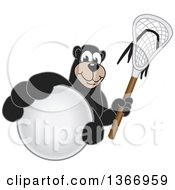 Clipart Of A Black Bear School Mascot Character Grabbing A Ball And Holding A Lacrosse Stick Royalty Free Vector Illustration by Toons4Biz