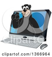 Clipart Of A Black Bear School Mascot Character Emerging From A Desktop Computer Screen Royalty Free Vector Illustration
