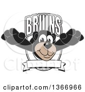Clipart Of A Black Bear School Mascot Character Leaping Outwards From A Bruins Shield Royalty Free Vector Illustration by Toons4Biz