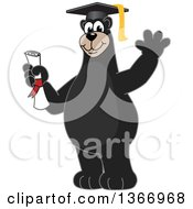 Clipart Of A Black Bear School Mascot Character Graduate Holding A Diploma And Waving Royalty Free Vector Illustration by Toons4Biz
