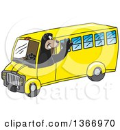 Clipart Of A Black Bear School Mascot Character Waving And Driving A School Bus Royalty Free Vector Illustration by Toons4Biz