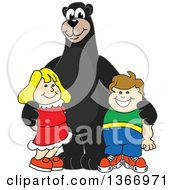 Clipart Of A Black Bear School Mascot Character Posing With Students Royalty Free Vector Illustration by Toons4Biz