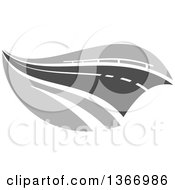 Clipart Of A Grayscale Two Lane Straightaway Highway Road Royalty Free Vector Illustration
