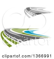 Clipart Of Curving Two Lane Roads Royalty Free Vector Illustration