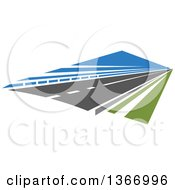 Clipart Of A Two Lane Straightaway Highway Road Royalty Free Vector Illustration
