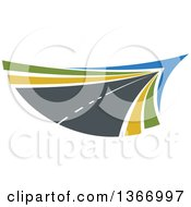 Clipart Of A Two Lane Straightaway Highway Road Royalty Free Vector Illustration by Vector Tradition SM