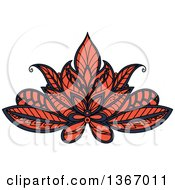 Clipart Of A Blue And Salmon Pink Henna Lotus Flower Royalty Free Vector Illustration