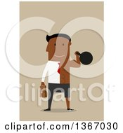 Clipart Of A Flat Design Black Half Business Man Half Bodybuilder Working Out With A Kettlebell On Tan Royalty Free Vector Illustration by Vector Tradition SM