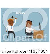 Clipart Of A Flat Design Black Business Man Boss Sneaking Up Behind An Employee On Blue Royalty Free Vector Illustration by Vector Tradition SM