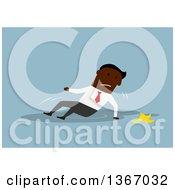 Flat Design Black Business Man Slipping On A Banana Peel On Blue