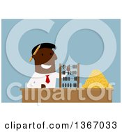 Flat Design Black Business Man Counting Coins With An Abacus On Blue