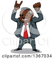 Clipart Of A Cartoon Happy Black Businessman Cheering Royalty Free Vector Illustration