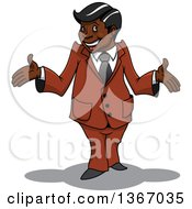 Clipart Of A Cartoon Happy Black Businessman Shrugging Royalty Free Vector Illustration