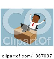 Clipart Of A Flat Design Black Business Man Cheering At His Desk On Blue Royalty Free Vector Illustration by Vector Tradition SM