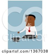 Clipart Of A Flat Design Black Business Man Kneeling And Begging On Blue Royalty Free Vector Illustration