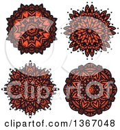 Clipart Of Navy Blue And Salmon Pink Kaleidoscope Flowers Royalty Free Vector Illustration